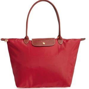 Longchamp Red 'Large Le Pliage' Tote